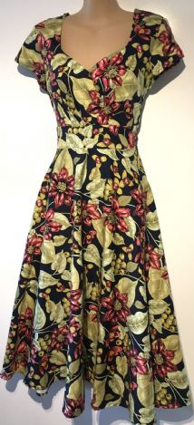 JOE BROWNS NAVY GREEN FLORAL FLARE DRESS SIZE 10